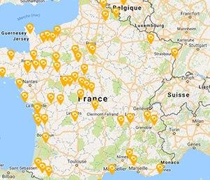 Carte des Résidences Seniors DOMITYS en France