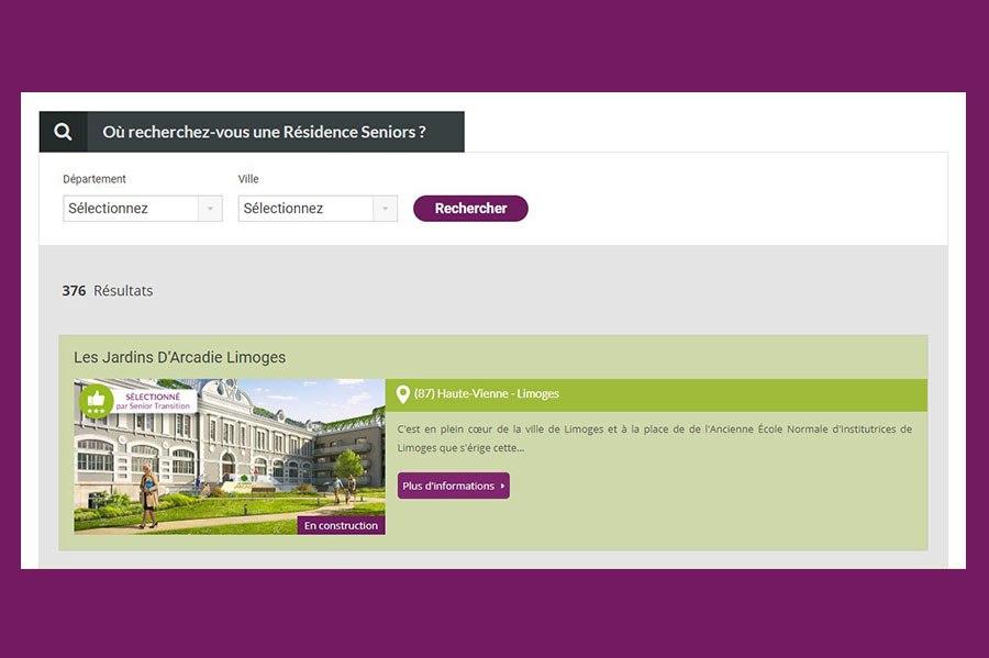 moteur de recherche senior transition violet